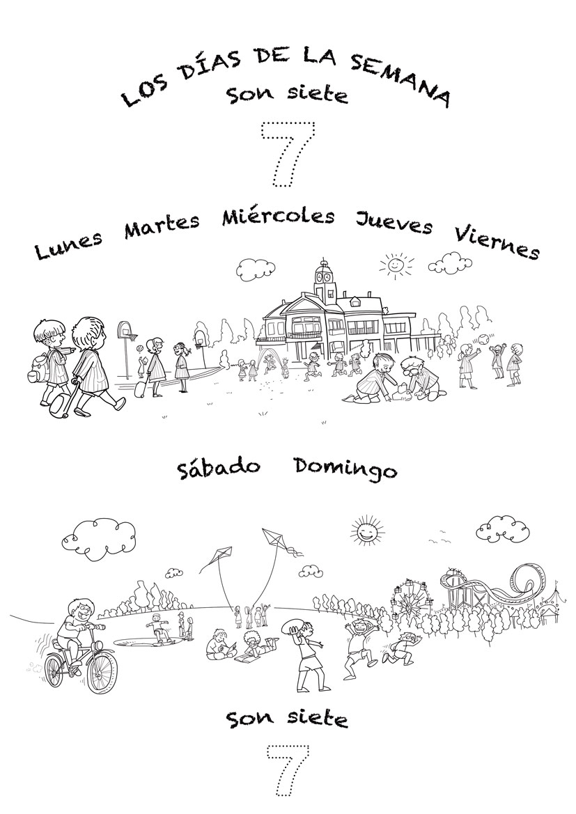 Coloring sheet and lyrics for Spanish-language song for teaching kids the days of the week in Spanish